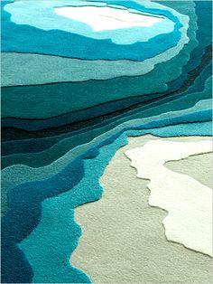 Blue dimensional rug