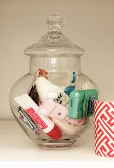 Bathroom Organization Guest Extras - Cute to put in a guest bedroom.