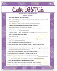 Easter Bible Trivia - who knows their facts, and who needs to pull out their bible? Easter game.