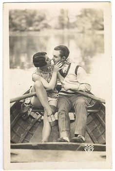 Old fashioned love <3 i want a romance like this. vintage clothes, rowboat, romantic boy, love it all