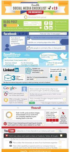 Social Media check list for businesses #infographic #socialmedia #marketing