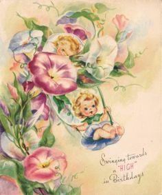 Vintage Greeting Card 1940s Girls  Flowers Swing