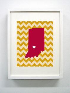 Indiana University Giclée Print  8x10  Go Hoosiers by PaintedPost, $14.00