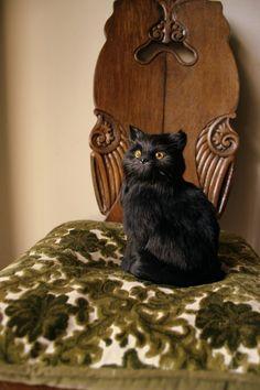 Vintage Faux Taxidermy Black Cat