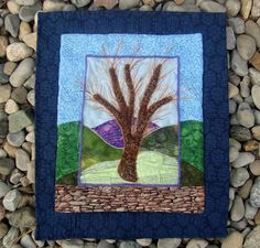 """OUT ON A LIMB""    Picture Image Applique. 13"" x16"".  Textural Landscape Pattern from Wendy Butler Berns. QUILTS BY MARISELA."