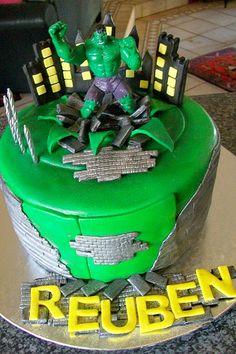 """The Incredible Hulk Cake"" Nate picked his birthday cake to celebrate 5th birthday!"