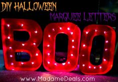 Super cool DIY Halloween Marquee Letters.