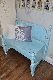I wish I still had my girls' cribs. I would LOVE to do this:  How to turn a crib into a bench!