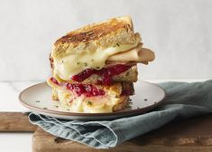 Take your grilled cheese to the next level with camembert cheese, cranberry sauce and Yves Veggie Turkey Slices. So good!