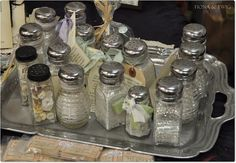 Use vintage Salt and Peppers for glitter. Check hole size for best use.
