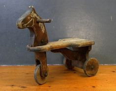 Antique 3-Wheeled Wooden Horse Tricycle