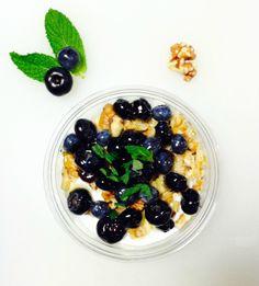 Greek Jougert, Mint, Blueberry, Walnut, Honey.
