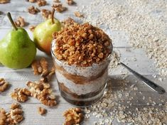 MAPLE-PEAR OVERNIGHT OATS WITH A CRUNCHY SPICED NUT TOPPING - GF and VEGAN