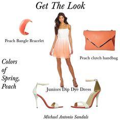 Colors of Spring - Peach, Women's fashion, peach dip dyed dress, peach clutch, peach bangle bracelet, peach & white sandals
