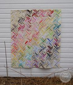 """Spectacular """"Selvage Whirlwind"""" quilt top by Amy Friend."""