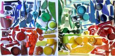 Rubbish Rainbows by Liz Jones...collages out of discarded plastic she finds along beaches and rivers.