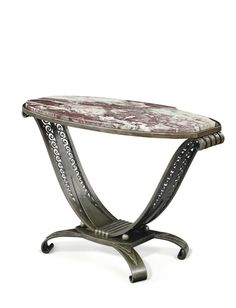 Art Deco - LOUIS KATONA   A WROUGHT-IRON AND MARBLE SIDE TABLE, CIRCA 1930
