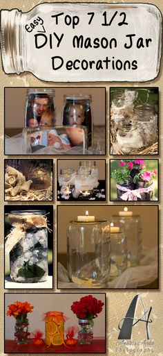 easy do-it-yourself mason jar decorating  You will need to figure out what to do after the wedding with all the jars!!   This gave me the thought to use a mason jar to pour our unity sand into.