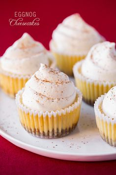 Eggnog Cheesecake Cupcakes #cupcakes #cupcakeideas #cupcakerecipes #food #yummy #sweet #delicious #cupcake