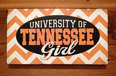 Tennessee Girl Sign on Orange and white Chevron Wood by SignNiche, $38.00