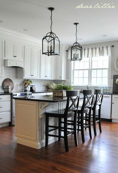 My Parents' Kitchen by Dear Lillie. Lantern Pendants: Ballard Design Wall Color: Revere Pewter