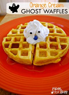 Orange Cream Ghost Waffles Recipe - These make a perfect Halloween breakfast and they taste even better thanks to TruMoo milk. #ad #TruMooTreats