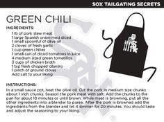 @Chicago White Sox green chili recipe.