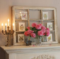 Old window, flowers, candles...