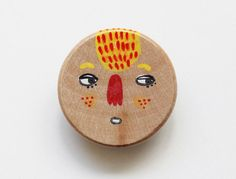 one of a kind hand painted wooden brooch no.17 by eviebarrow
