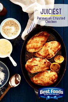 Easy trick. Use Best Foods Mayonnaise instead of eggs to coat your baked chicken! It's the family secret that keeps our Parmesan Crusted Chicken recipe juicier and crispier. Mmmm...