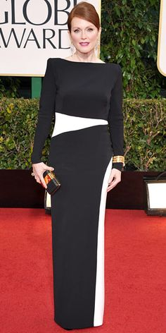 Julianne Moore in black and white Tom Ford at the Golden Globes 2013