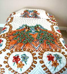 Chenille Bedspread / Double Peacock / Vintage Shabby Bedding. $245.00, via Etsy.