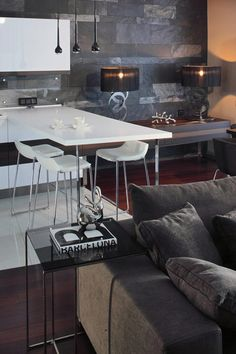 Apartment Design, Apartment Movers Books Dark Coffee Table Laminating Floor Gray Sofa White Dining Table Geometrix Design Apartment 8: Contr...