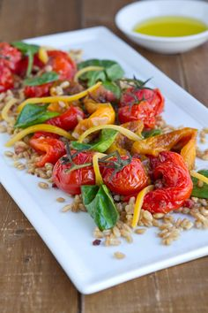 Roasted Pepper, Tomato and Farro Salad by @Nancy Buchanan - What a lovely presentation!