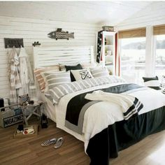 black, grey, blue and red Nautical bedroom