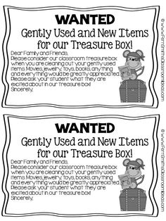#ClassroomFreebies #FREE Parent Letter For Treasure Box Items