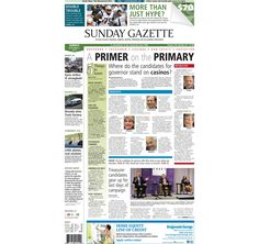 The front page of the Taunton Daily Gazette for Sunday, Sept. 7, 2014.
