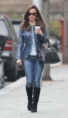 Pippa wearing Tory Burch peplum jacket, Modalu pippa handbag, and Temperley blouse