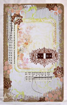 Altered notebook by Patter Cross using Blue Fern Studios Ombre Dreams paper and Something Tattered stamps.