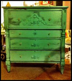 Furniture, : Fetching Rustic Furniture For Bedroom Decoration With Narrow Green Painted Distressed Wood Dressers
