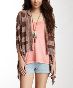 Take a look at this Brown & Orange Saddle Stripe Cardigan by Stacia on #zulily today!