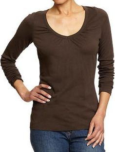Women's Perfect Shirred V-Neck Tees | Old Navy