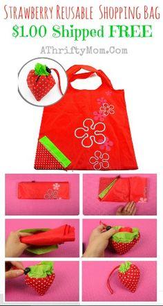 Strawberry  Reusable Shopping Bag, only a dollar each shipped free #shoppingBag, #FreeSHipping, #amazon,