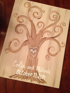 """Alternative to traditional guest book. Have guest """"leaf"""" their thumbprint"""