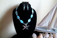 Silver Starfish Pendant and Aqua Shell by TheBumbleBeadCompany, $30.00