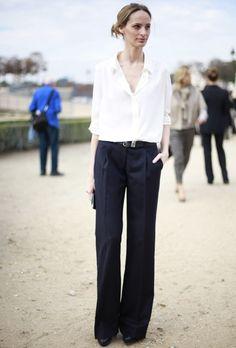 white blouse + wide leg trousers