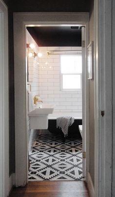 cement tiles, dramat bathroom, bathroom makeovers, wall tiles, white bathrooms, subway tiles, cement tile floor