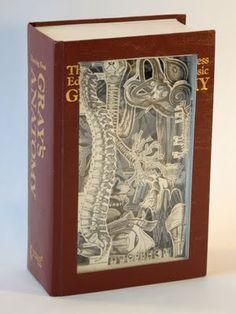 Gray's Anatomy book carving - Julia Strand
