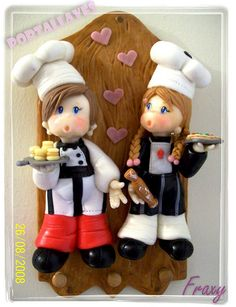 Porta Llave de cocineritos by Fraxy Modelado en Porcelana Fría, via Flickr