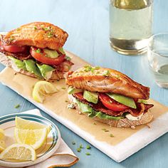 Open-Faced Salmon and Avocado BLTs | Cooking Light #myplate #veggies #protein #fruit